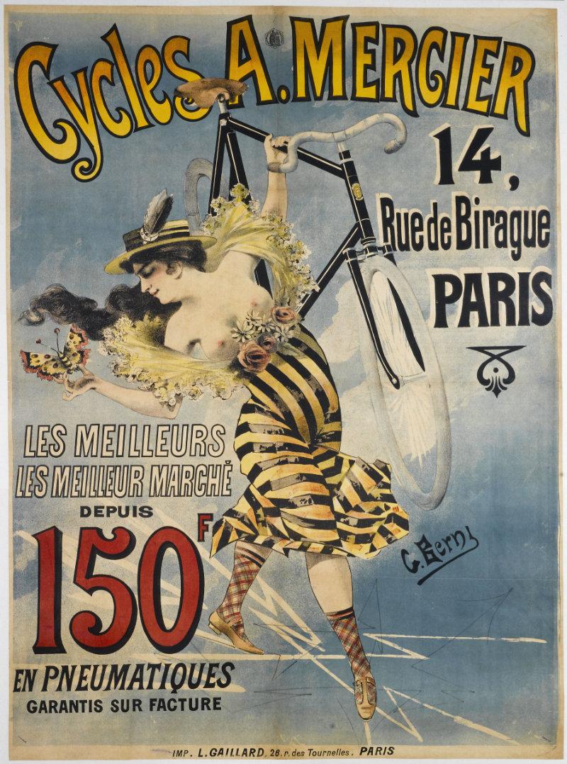 Les cycles A. Mercier.  Lithographie du dessinateur Berni G. (entre 1880 et 1900)