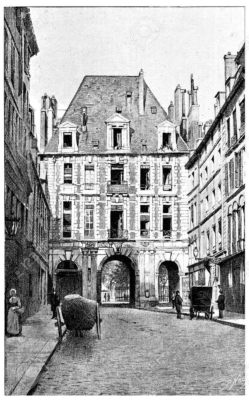 La rue de Birague vers la  Place des Vosges, gravure. Paris - Auguste VITU – 1890.